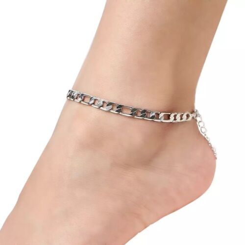 Gold or Silver Plated Figaro Chain Anklet / Ankle Bracelet 7.5″+2″ B3 Anklets