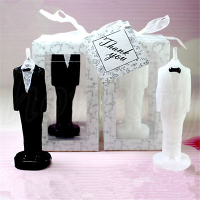 - Romantic Love Wedding Cake Candle Bride Bridegroom Shape Decors Gift Pure White