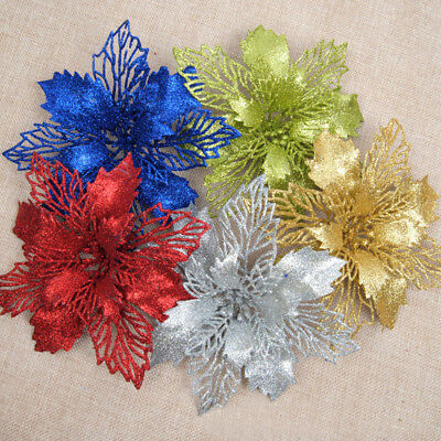 10Pcs Glitter Hollow Christmas Flower Wedding Party Decor Xmas Tree Ornaments US](Glitter Christmas Ornaments)