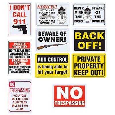 10pc GUN WARNING Security SIGN Set Warning Home Alert No Trespassing Dog Owner