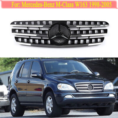 Black Front Grille Mesh Grill Vent Trim for Mercedes Benz W163 ML320 1998-2005