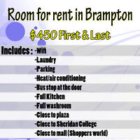 Room for rent in Brampton NEW PRICE IS 400$