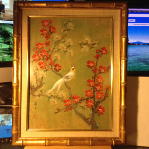 Vintage Original Chinese Bird & Flower Framed Hand Painting