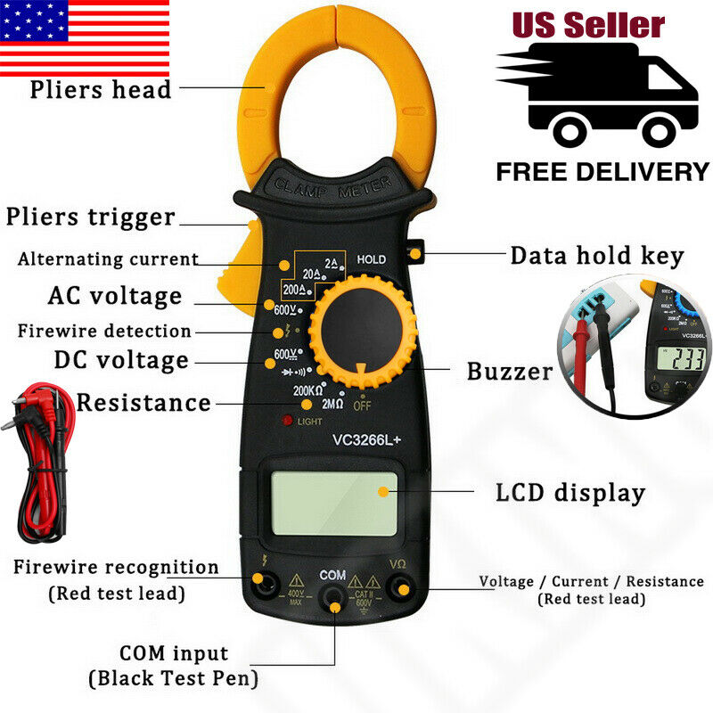 Digital Clamp Meter Multimeter Handheld DC/AC Auto Range Ohm Amp Tester LCD TRMS