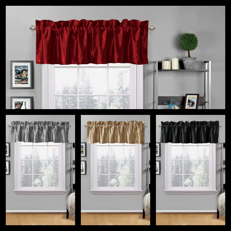 1PC SATIN VALANCE ROD POCKET WINDOW CURTAIN KITCHEN CAFFE RE