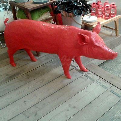 SCHWEIN lebensgroß 160 cm PINK DEKO Garten Tier Figur BAUERNHOF GFK Dekoration