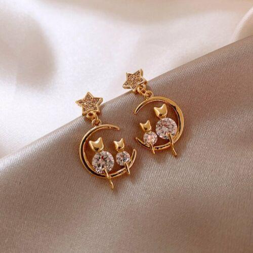 Jewellery - 925 Silver Zircon Cat Earrings Stud Drop Dangle Women Jewelry Gift Wedding Party