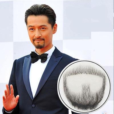 Fake Black Beard Man Makeup Mustache Cosplay Real 100% Human Facial Hair Promote](Fake Moustache)