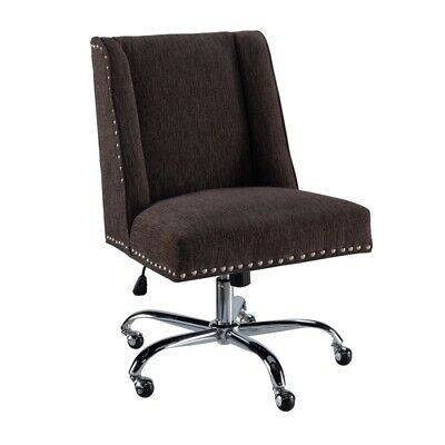 Linon Draper Wood Upholstered Office Chair In Charcoal Gray