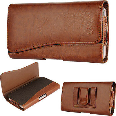 Brown PU Leather Horizontal Holster Belt Clip Pouch Case For Samsung Galaxy S8