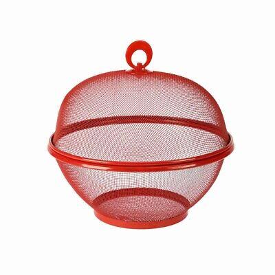 Metal Fruit Bowl with Lid 26cm Vegetable Storage Holder Basket Large Stand Red  - Red Fruit Bowl
