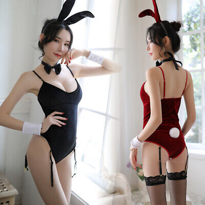 Women Sexy Lingerie Set Bunny Girl Red Black Cosplay Costume Party Underwear Set
