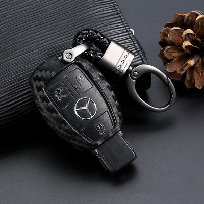 Carbon Fiber Car Key Case Holder Protector Accessories For Mercedes-Benz 1PCS
