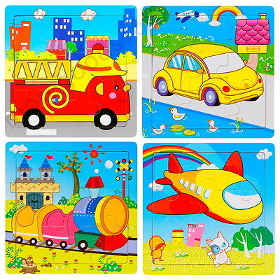 Animals Vehicles Wooden 9 Pieces Jigsaw Puzzle Toy for Preschool Toddler Kids (Puzzles For Preschoolers)