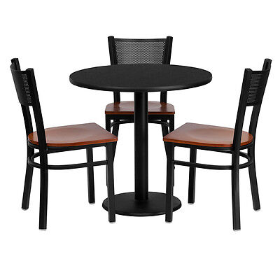 1 Bar Height Restaurant Table Set With Grid Back Metal Chairs And Walnut Seats