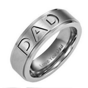 316 stainless steel Engraved mom and dad rings 100% NEW