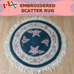 GOOD QUALITY ROUND EMBROIDERED RUG - DIAMETER 42""