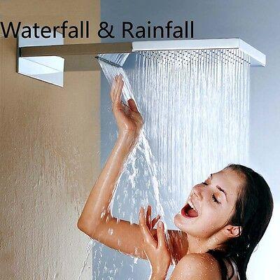"Large 22"" Square Waterfall Rain Shower Head Wall Mounted Top Shower Sprayer Head"
