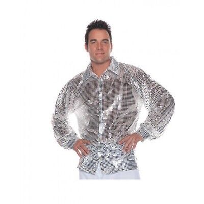 Under Wraps Silver Sequin 70's Disco Adult Mens Halloween Costume Shirt 29182 - Silver Disco Shirt