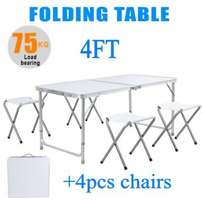 4 Ft Portable Folding Table Outdoor Picnic Plastic Camping Dining Party4 Chairs