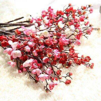 (Artificial Plum Blossom Flowers Stems Fake Winter Plum Tree Branch Decoration)