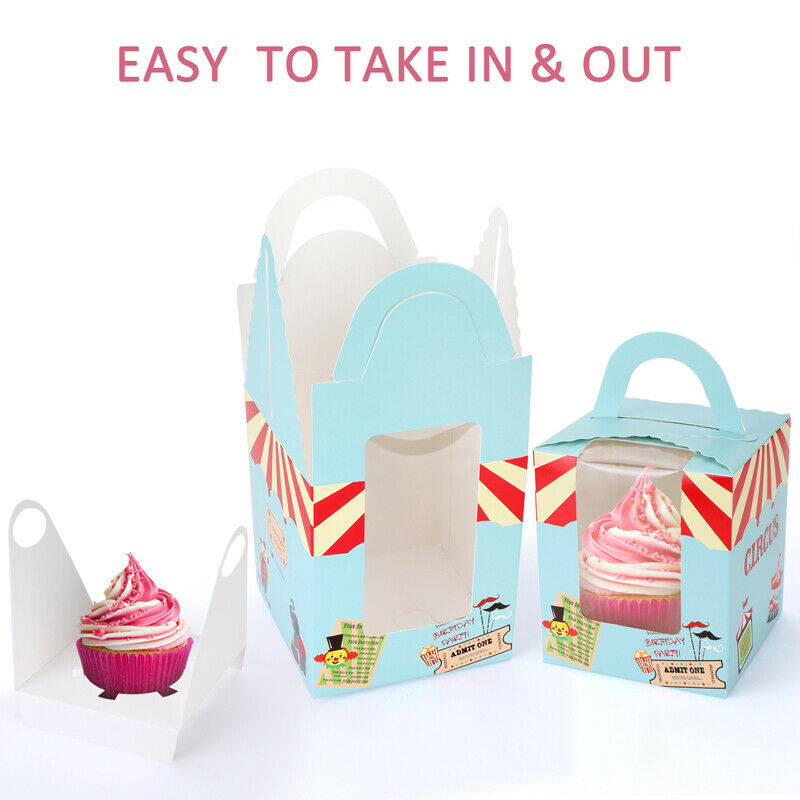 Windowed Cupcake Boxes with 6 Cavity Insert Pack of 25