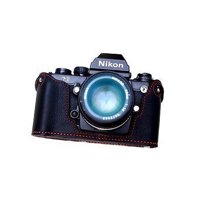 Genuine Leather Half Case for Nikon F3 (Black/Red) - Stunning! - BRAND NEW