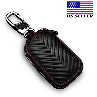 Leather Car Auto Remote Key Fob Chain Zipper Wallet Holder Bags Case Cover US ()