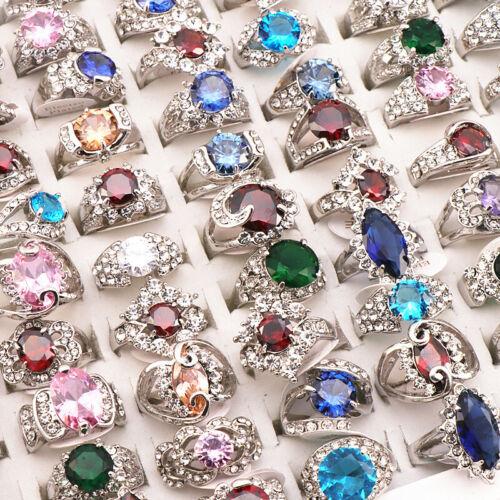 20Pcs Mixed style Rhinestone Zircon Metal Rings Fashion Jewelry