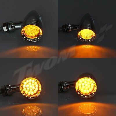 Pair Of Universal Motorcycle Bullet 20 LED Turn Signal Light Taillight 10MM 12V - Greaser Couple