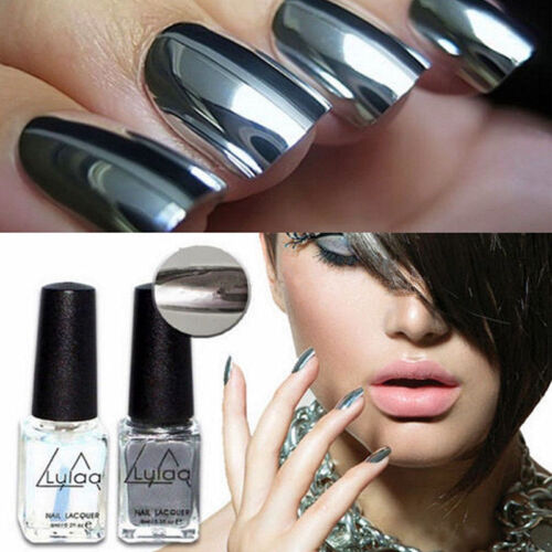 New 2Pcs Mirror Effect Chrome Metallic Silver Nail Art Varnish ...