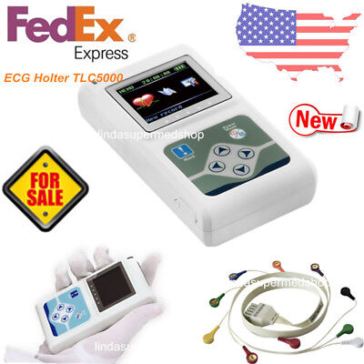 Portable Dynamic Holter 12-channel Ecg Ekg Machine 24hr Monitoring Recorder Usa
