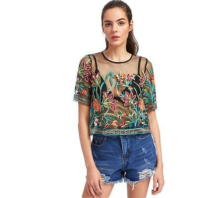 Woman Top Shirt Blouse Transparant Floral Embroidered Top Sezy Sheer Mesh Top - Sezy Woman