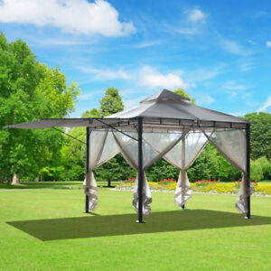 10'x10' Gazebo Canopy Outdoor Party Tent Sun Shelter w/ Mosquito