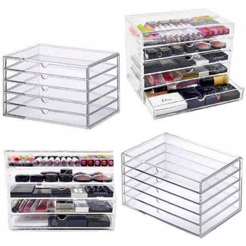 5 Drawers Cosmetic Organizer Clear Acrylic Make Up Jewellery Case Box Storage