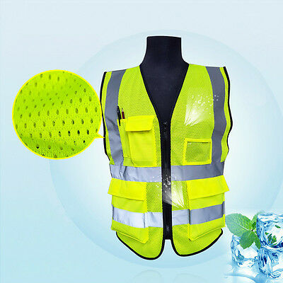 Reflective Mesh Safety Vest Work Jackets Security Waistcoat 5 Pockets Hi-vis Viz