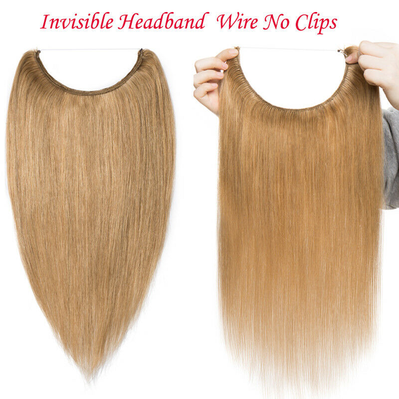 100 Real Remy Human Hair Extensions Invisible Secret Headband Wire