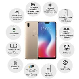 "Vivo V9 AI Selfie 4G Smartphone 6.3"" Full Screen Android 8.1 Octa Core 4GB+64GB dual sim"