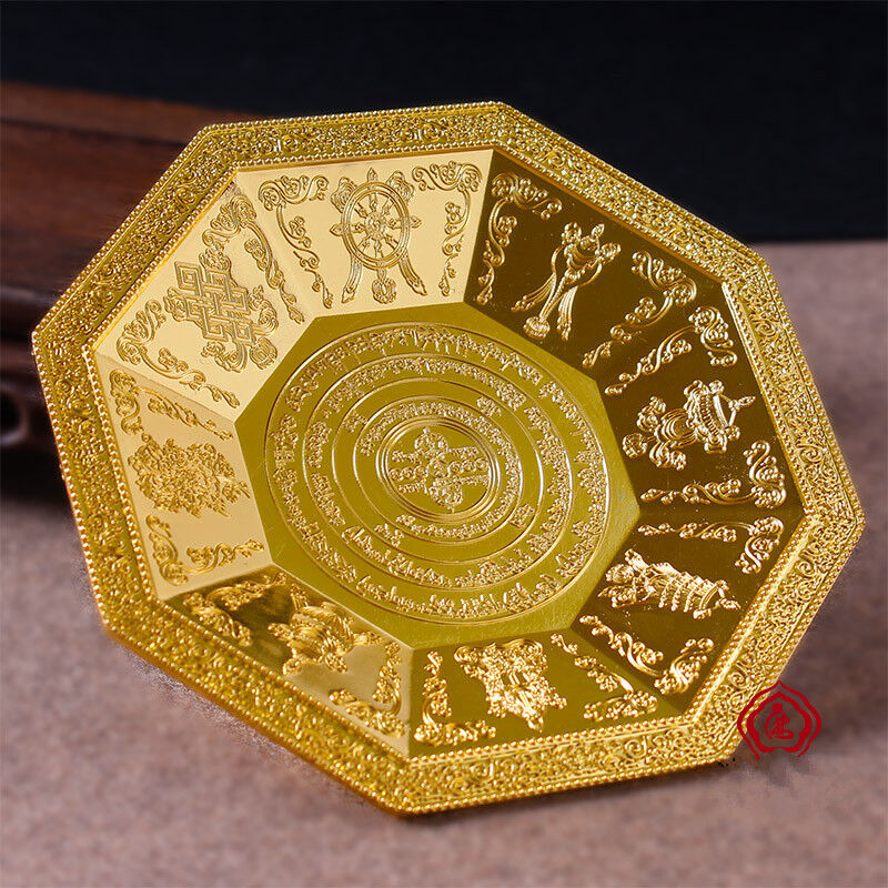 Buddha Tibet Tibetan Buddhist Eight Symbols Offering Fire Plate Bowl Vessel A1