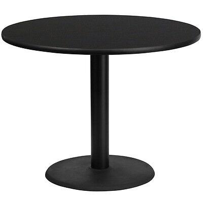 42 Round Black Laminate Table Top With 24 Round Table Height Base