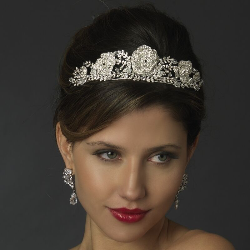Antique Silver Swarovski Crystal Rhinestone Rose Flower Bridal Wedding Tiara