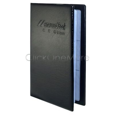 200 Card Leatherette Business Credit Name Card Holder Organizer Case Black