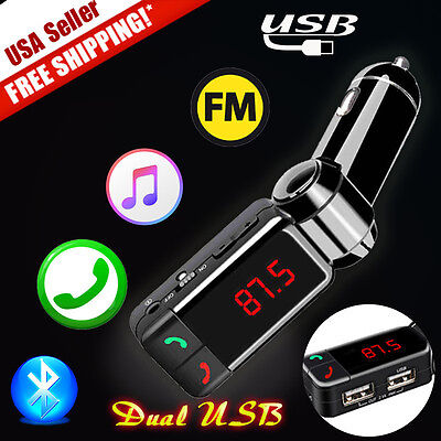 Wireless Bluetooth MP3 Player FM Transmitter Dual USB Car Charger For Iphone6 US
