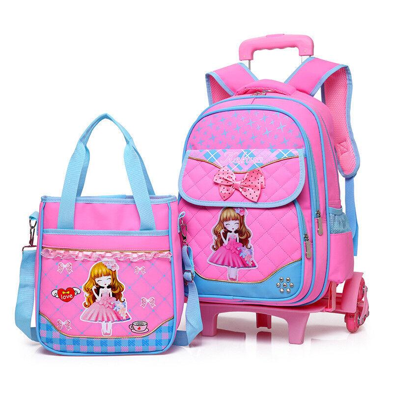 2Pcs Girls Bowknot School Bag Children Trolley Backpack Remo