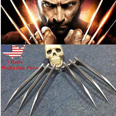 US! 2Pcs X-Men Wolverine Logan Blade Claws Paws Mens Halloween Cosplay Props - Wolverine Claws Halloween