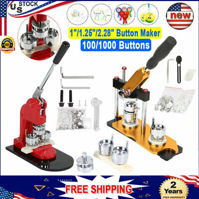 "1""/1.25""/2.28"" Rotated Button Maker Badge Punch Press Machine + 100/1000 Buttons"