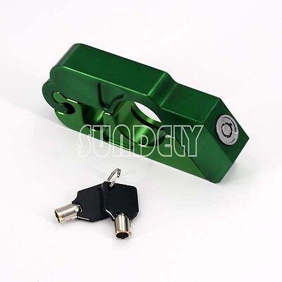 Green Motocycle Handlebar Brake Lever Lock Security Anit Theft CapsLock Aluminum
