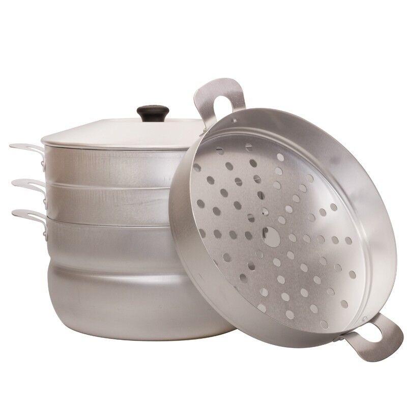 Dumpling Steamer Mantovarka Aluminum 3-tiered 1.6 gal 6 L Uz