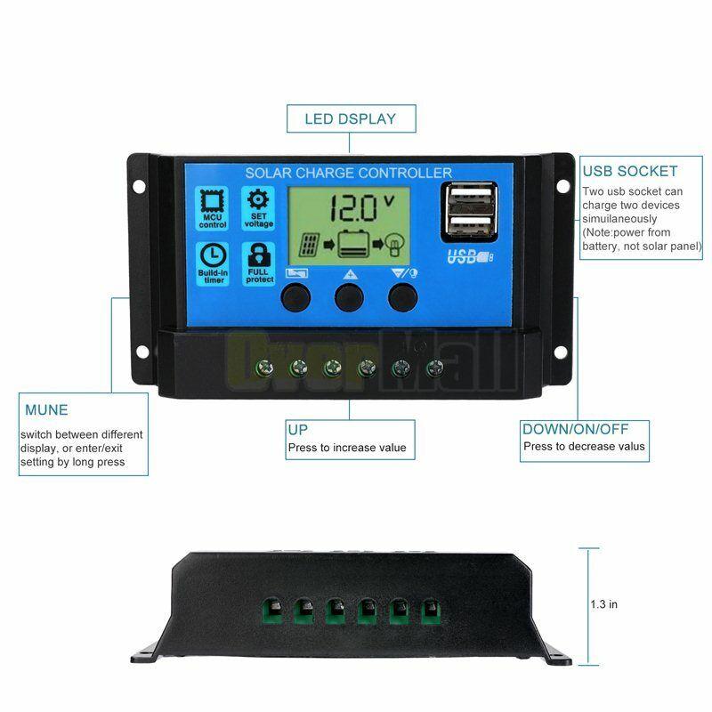 MPPT Solar Panel Regulator Charge Controller Auto Focus Tracking 30-100A 12V/24V 5