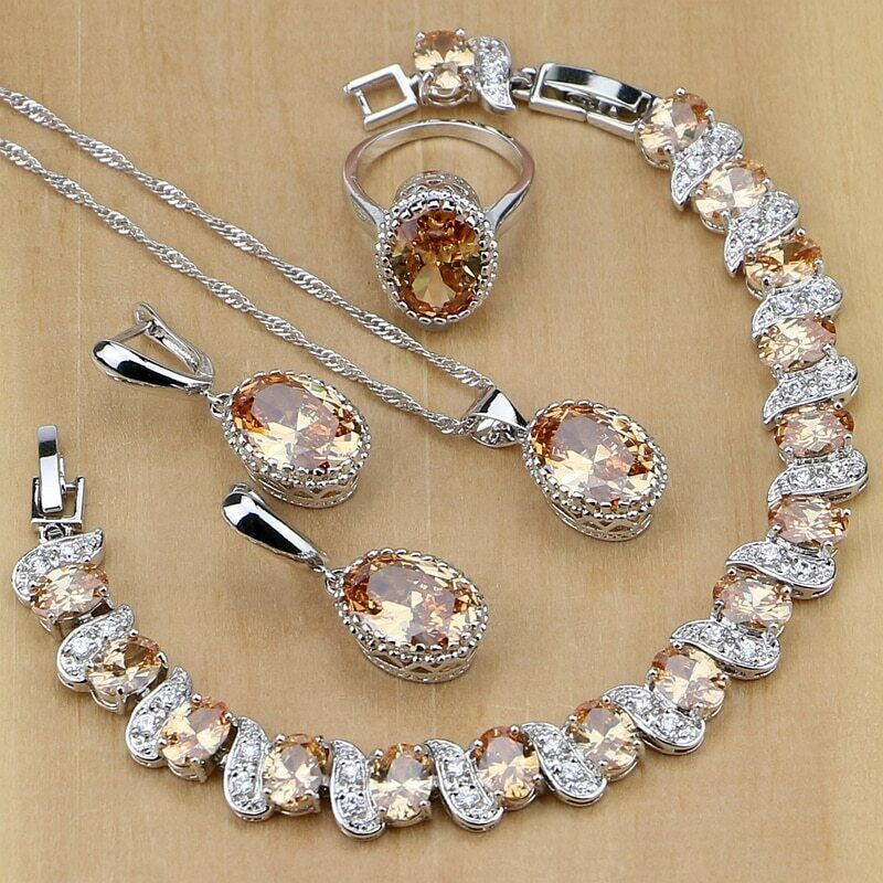 925 Sterling Silver Bridal Jewelry Champagne Zircon Jewelry